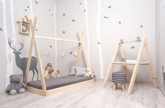 móveis montessorianos - quarto montessoriano cinza simples