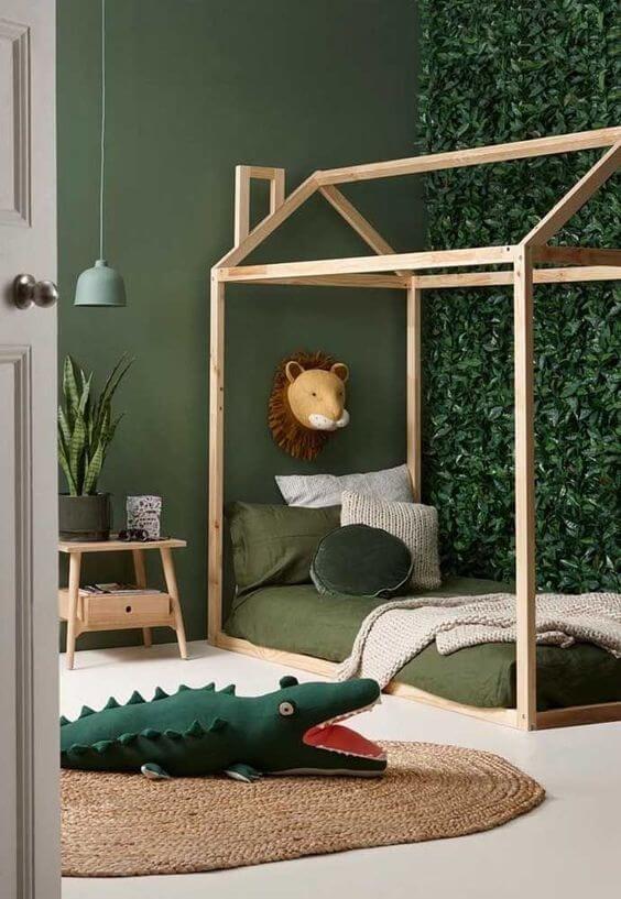 móveis montessorianos - quarto montessoriano em tons de verde