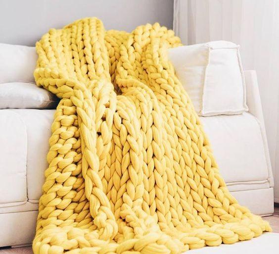 manta de crochê - manta amarela feita de maxi crochê - Revista Artesanato
