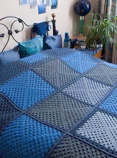 manta de crochê - manta azul e cinza