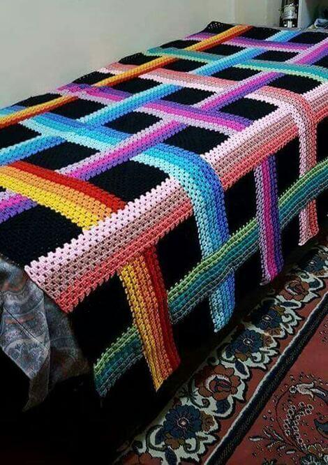 manta de crochê - manta colorida