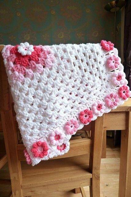 manta de crochê - manta com flores de crochê