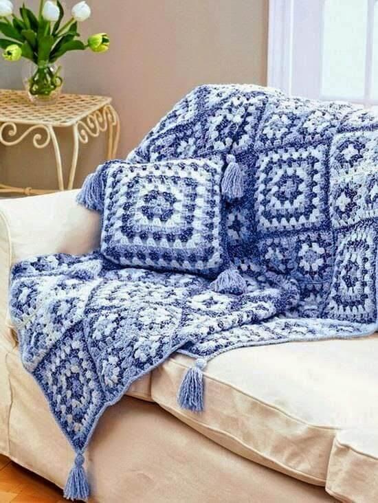 manta de crochê - manta de crochê azul e branco