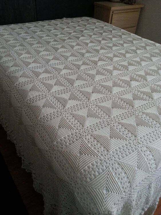 manta de crochê - manta de crochê branca