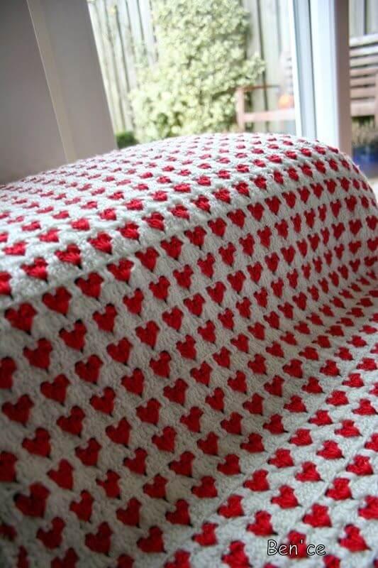 manta de crochê - manta de crochê com coração