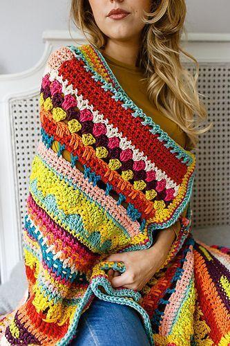 manta de crochê - manta de crochê multicolorida