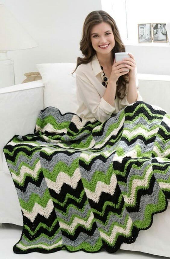 manta de crochê - manta de crochê verde com branco e preto