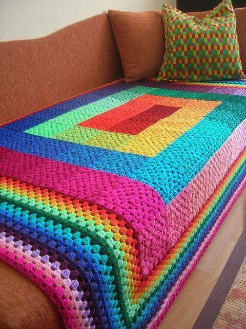 manta de crochê - manta de sofá colorida