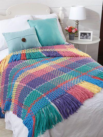 manta de crochê - manta quadriculada colorida