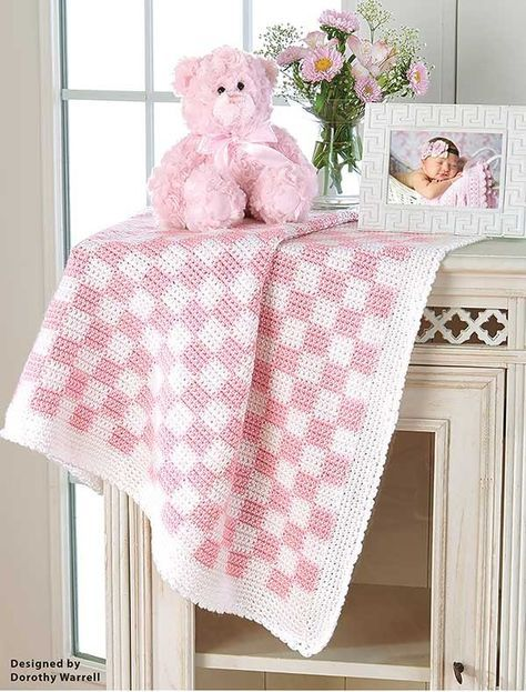 manta de crochê - manta rosa e branca de crochê
