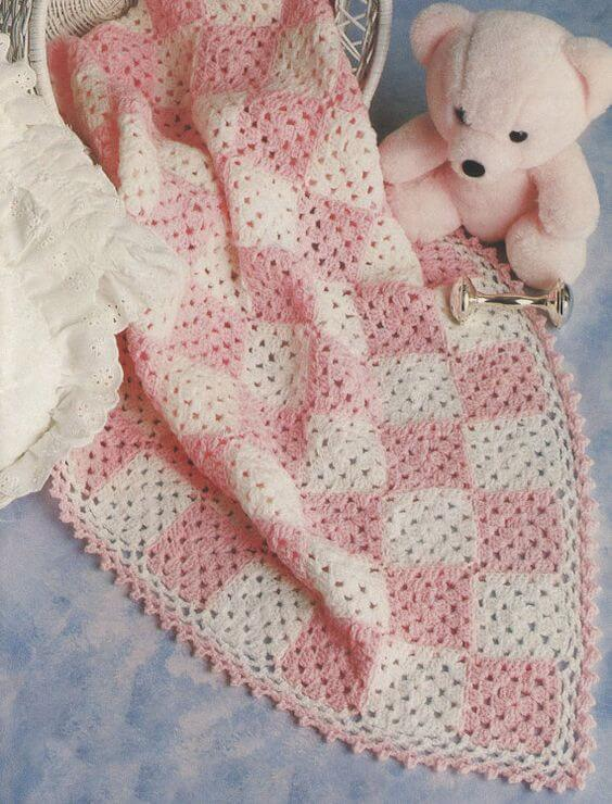 manta de crochê - manta rosa e branca infantil