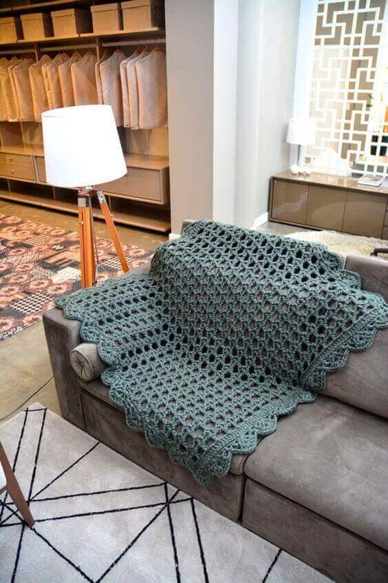 manta de crochê - manta vazada chumbo em sofá