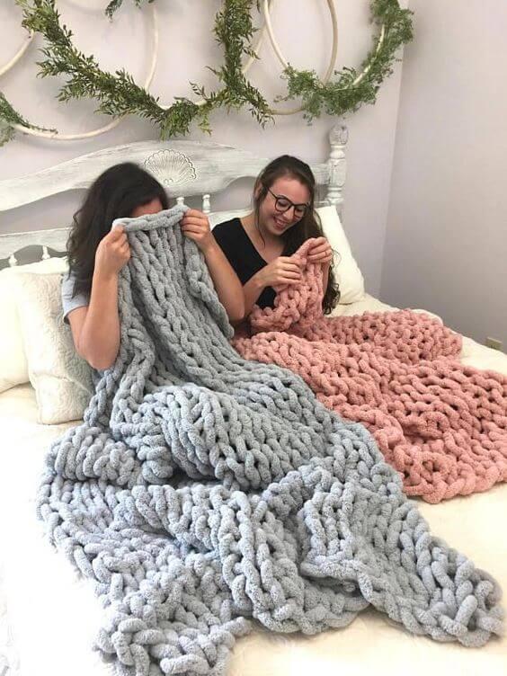 manta de crochê - mantas de maxi crochê salmão e cinza
