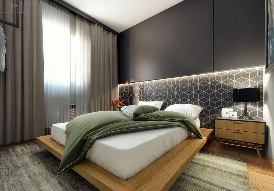 melhor travesseiro - cabeceira com iluminação e cama estilo japonesa