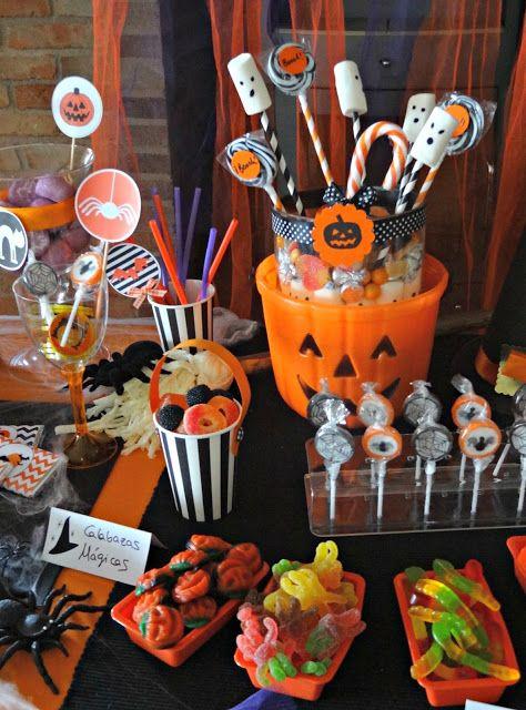 mesa de doces para Halloween