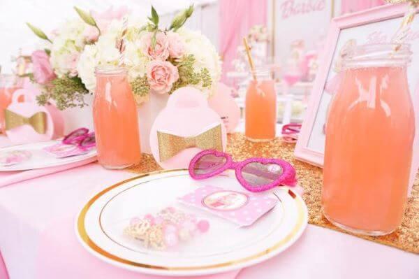 Mesa de festa da barbie personalizada