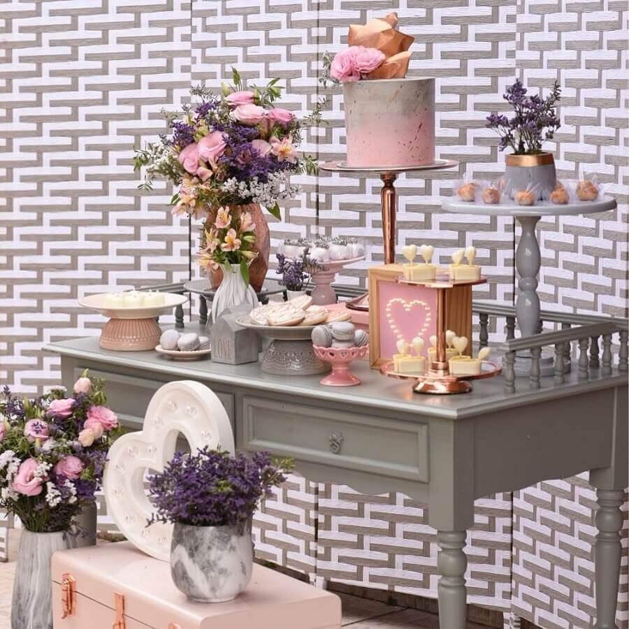 mini wedding decorado em cinza e rosa Foto Marcela Santos