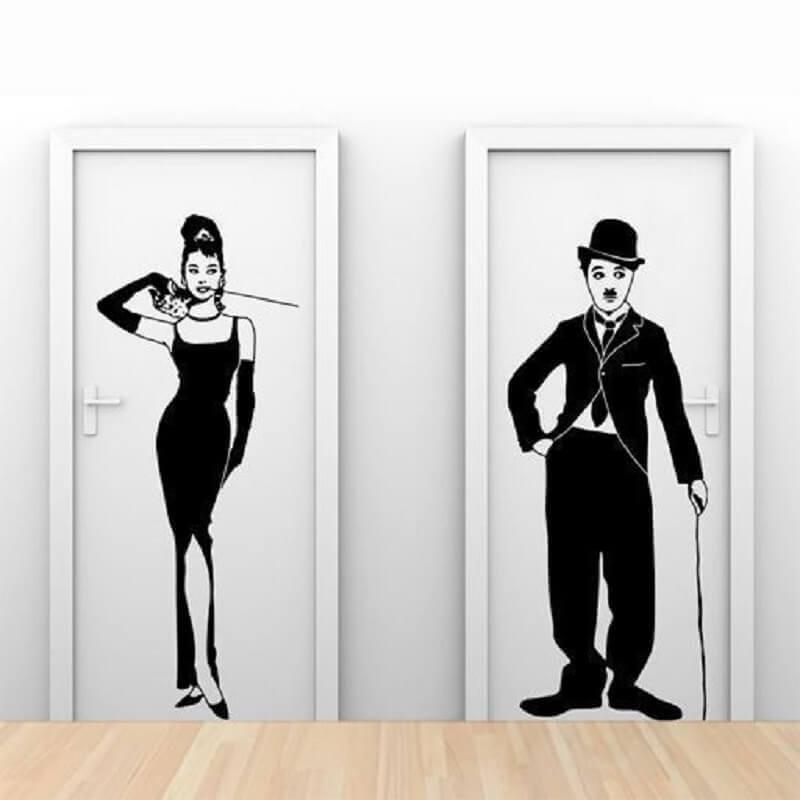 modelo de placa para banheiro masculino e feminino com desenho de Audrey Hepburn e Charlie Chaplin Foto Air Freshener