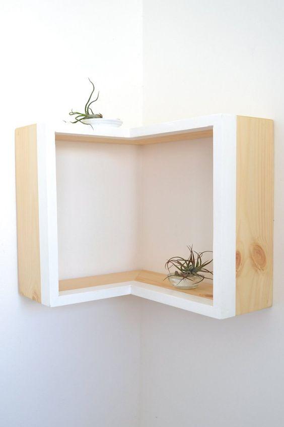 nichos de madeira em canto