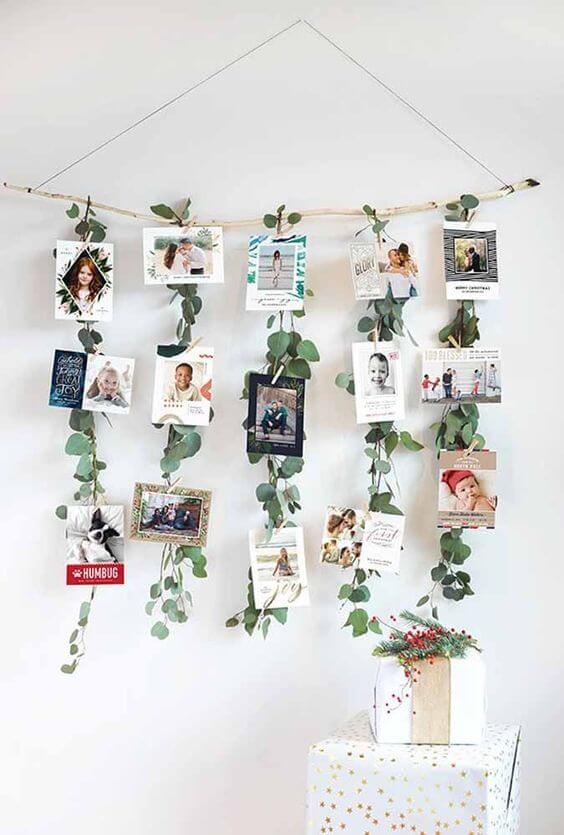 painel de fotos com folhas