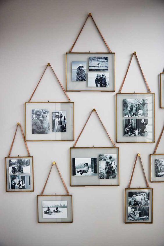 painel de fotos com porta retratos