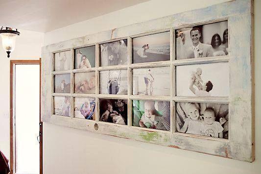 Painel de fotos de madeira