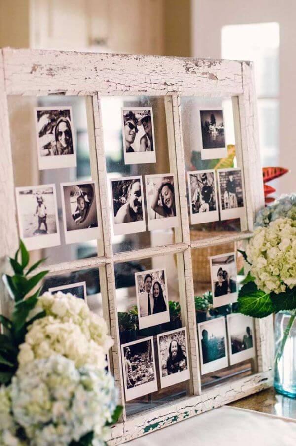 painel de fotos na decoração