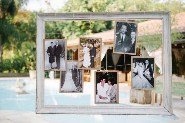 Painel de fotos na festa de casamento