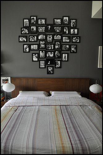 Painel de fotos no quarto de casal