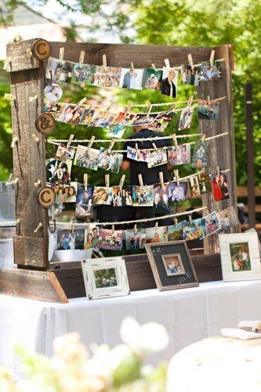 painel de fotos para a festa de casamento