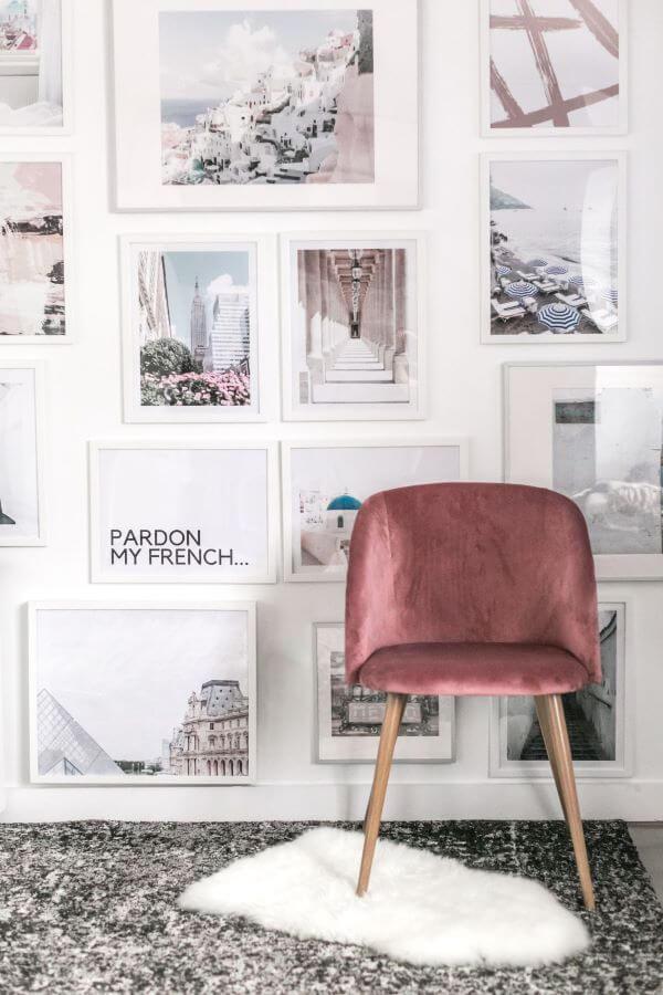 Painel de fotos para quarto