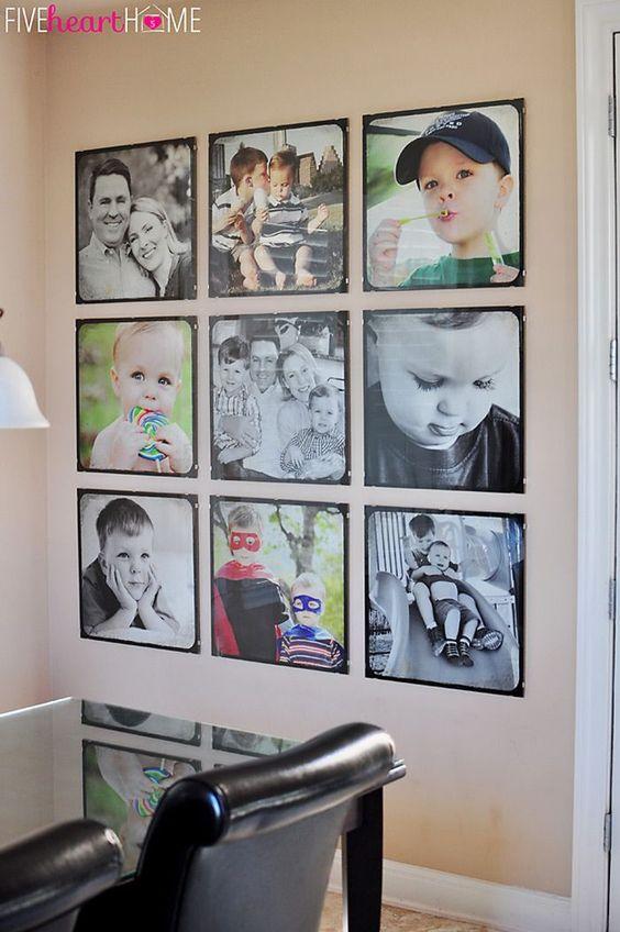 Painel de fotos para sala de estar com foto dos filhos