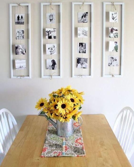 Painel de fotos para a sala de estar