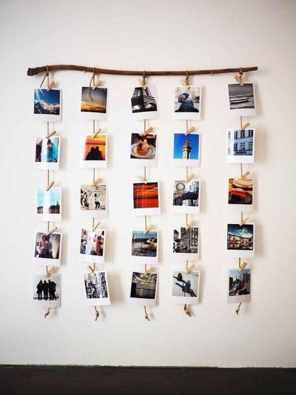 painel de fotos com polaroids
