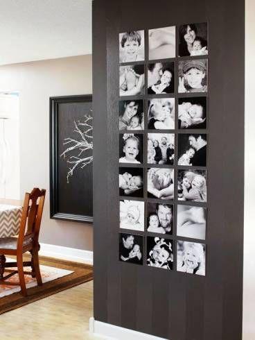 Painel de fotos em preto e branco
