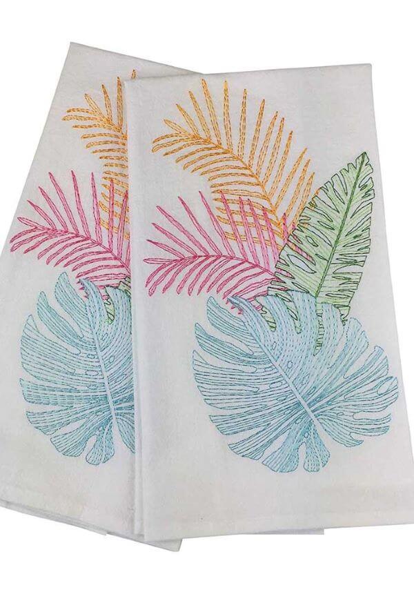 pano de prato bordado com folhas