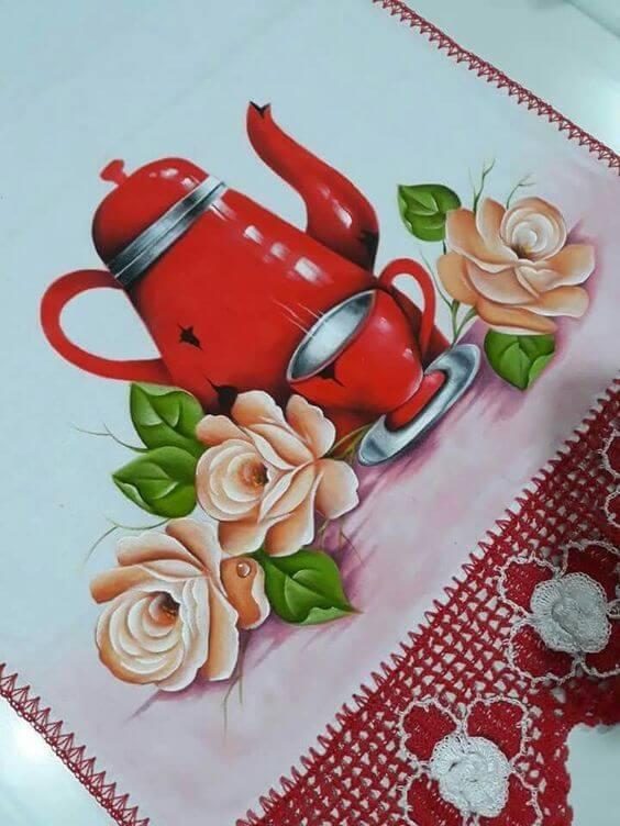 pintura em pano de prato com flores