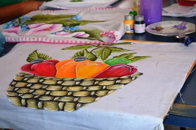 Pintura para pano de prato frutas sem acabamento