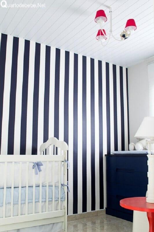 papel de parede azul marinho para decoração de quarto de bebê Foto Webcomunica