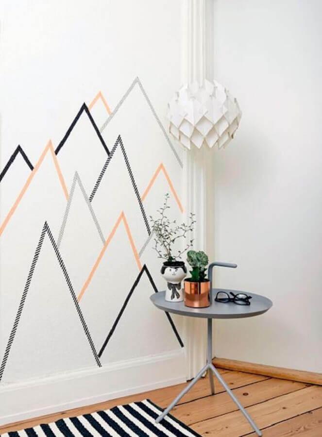 parede decorada com fita isolante Foto Pinterest