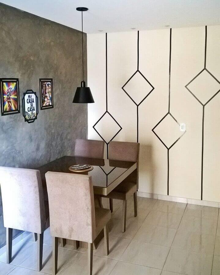 parede decorada com fita isolante para sala de jantar com cimento queimado Foto Apê do J&S