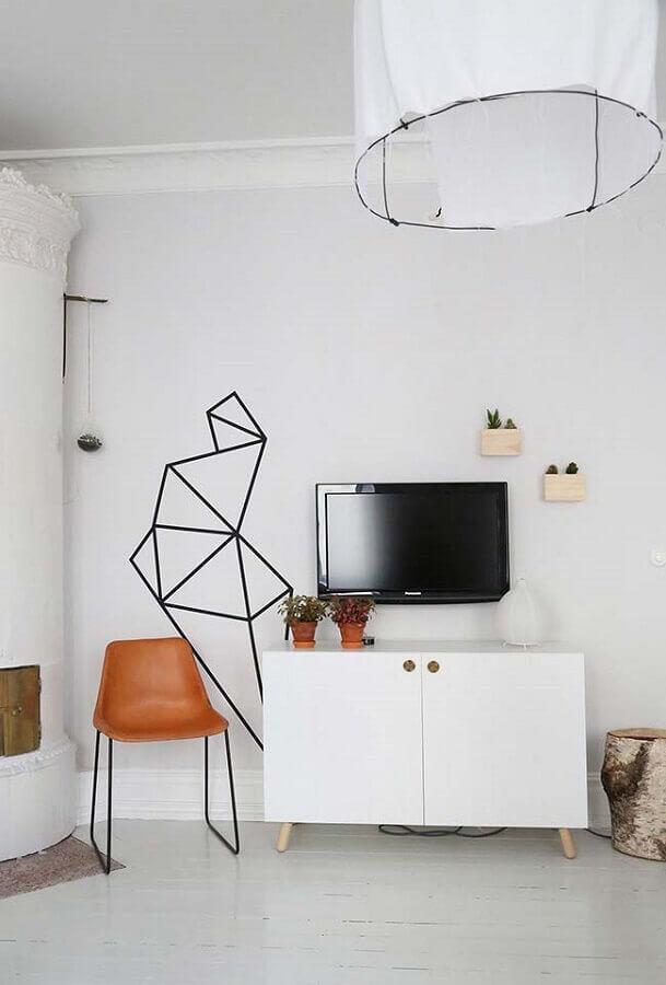 parede decorada com fita isolante para sala toda branca Foto Hinsdale Architecture