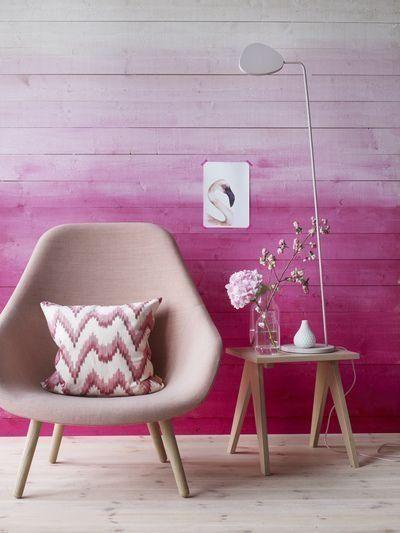 parede ombré decor na cor fúcsia