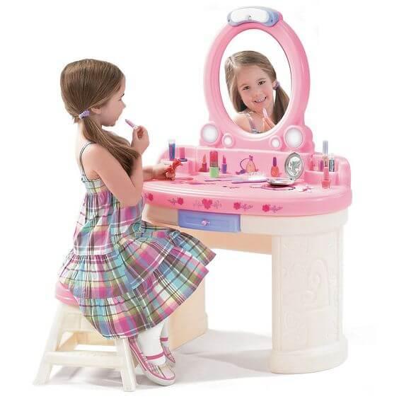 Penteadeira infantil de brinquedo para crianças