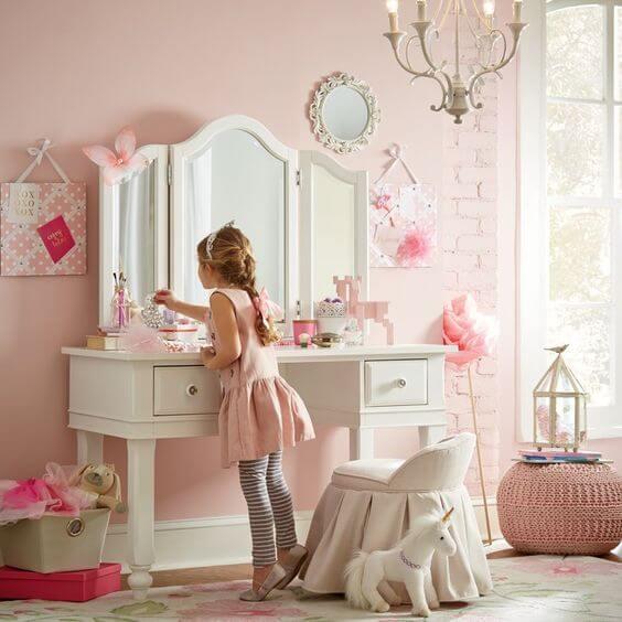 Penteadeira infantil com espelho e em mdf