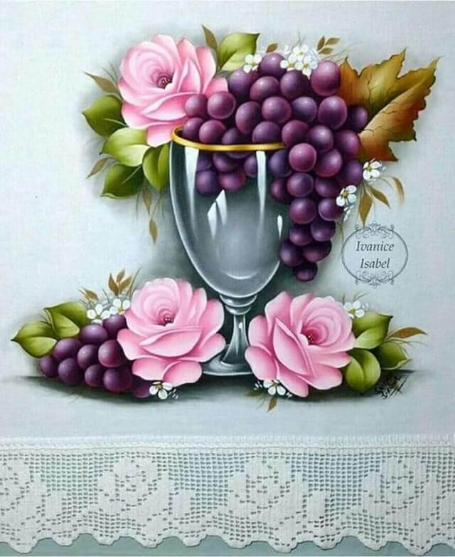 Pintura de pano de prato frutas