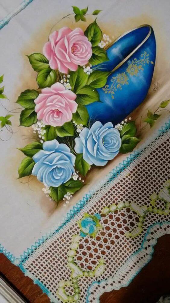 Pintura de pano de prato com flores