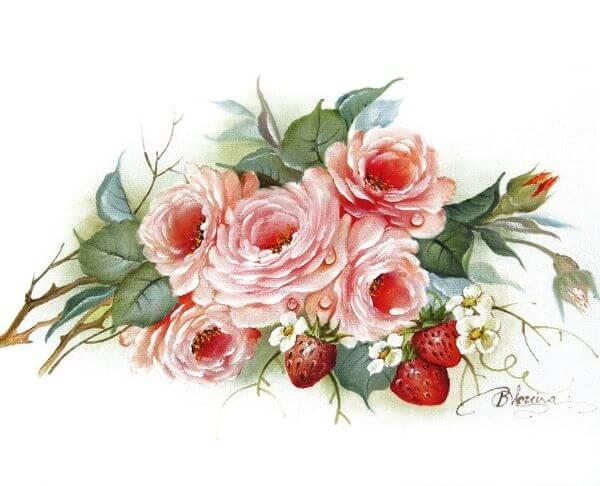 Pintura em pano de prato frutas e flores