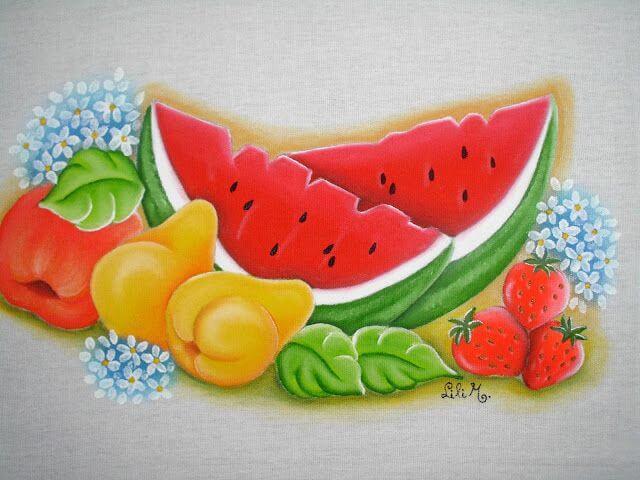 Pintura em pano de prato frutas melancia