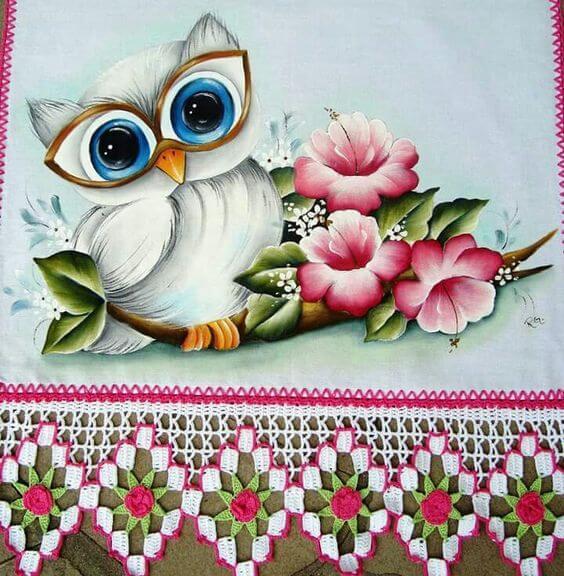 Pintura em pano de prato coruja